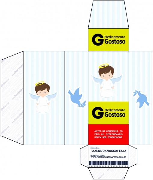Caixa Remédio Batizado Azul Claro