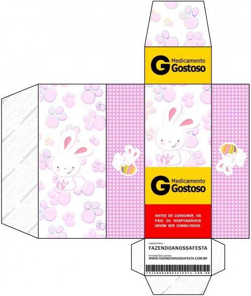Caixa Remédio Páscoa Coelhinho Cute Rosa