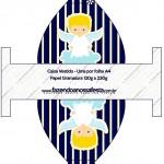 Caixa Vestido Batizado Azul Marinho Anjinho Loiro