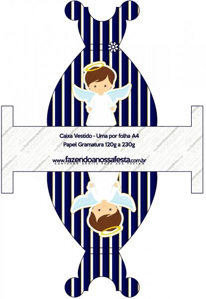 Caixa Vestido Batizado Menino Azul Marinho e Branco