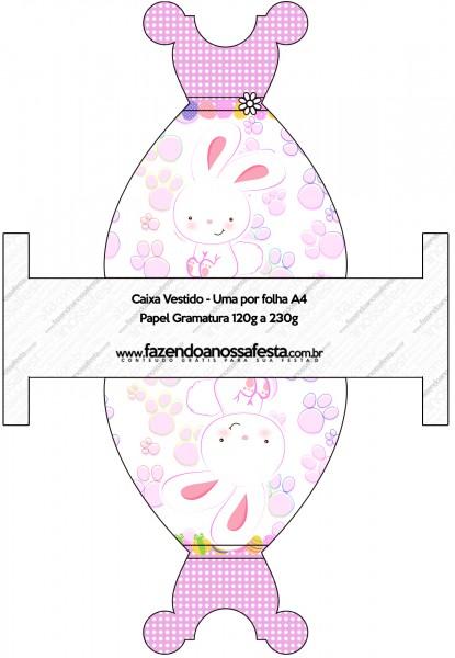 Caixa Vestido Páscoa Coelhinho Cute Rosa