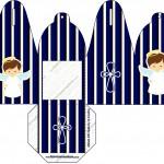 Caixa com Foto Batizado Menino Azul Marinho e Branco