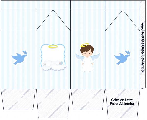 Caixa de Leite Batizado Azul Claro