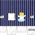 Caixa de Leite Batizado Azul Marinho Anjinho Loiro