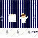 Caixa de Leite Batizado Menino Azul Marinho e Branco