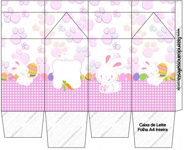 Caixa de Leite Páscoa Coelhinho Cute Rosa