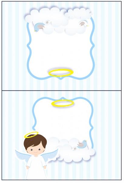 Cartão Agradecimento de Mesa Batizado Azul Claro