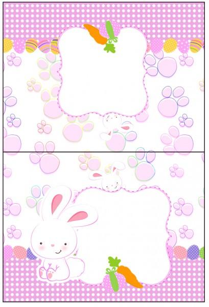 Cartão Agradecimento de Mesa Páscoa Coelhinho Cute Rosa