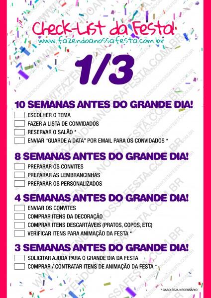 Check List - Organizando a Festa - 1