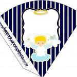 Cone Guloseimas 4 lados Batizado Azul Marinho Anjinho Loiro