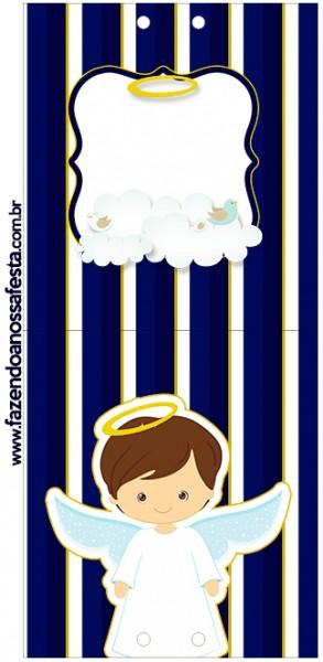 Conite Pirulito Batizado Menino Azul Marinho e Branco