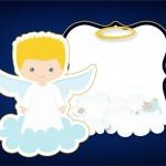 Convite 2 Batizado Azul Marinho Anjinho Loiro