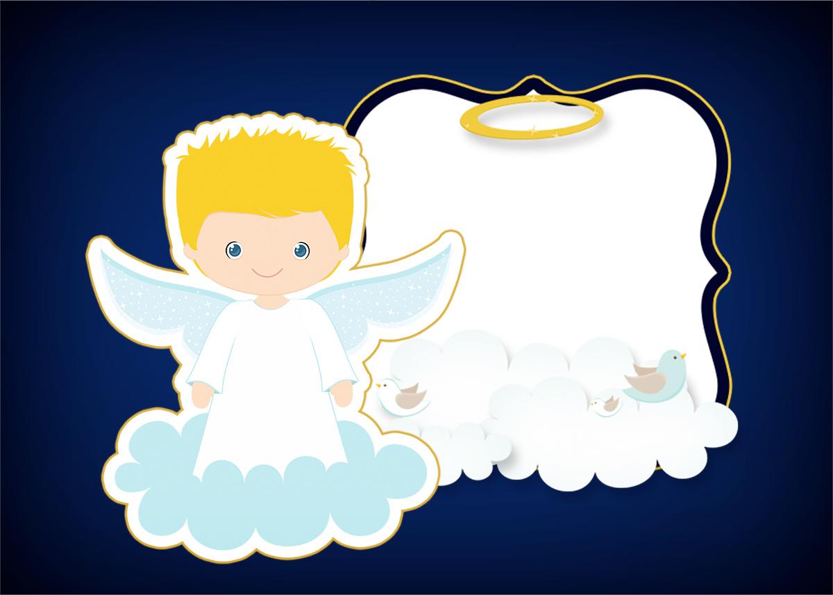 Convite 2 Batizado Azul Marinho Anjinho Loiro Fazendo A Nossa Festa
