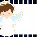 Convite 2 Batizado Menino Azul Marinho e Branco