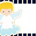 Convite 3 Batizado Azul Marinho Anjinho Loiro