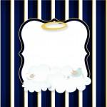 Convite 3 Batizado Menino Azul Marinho e Branco