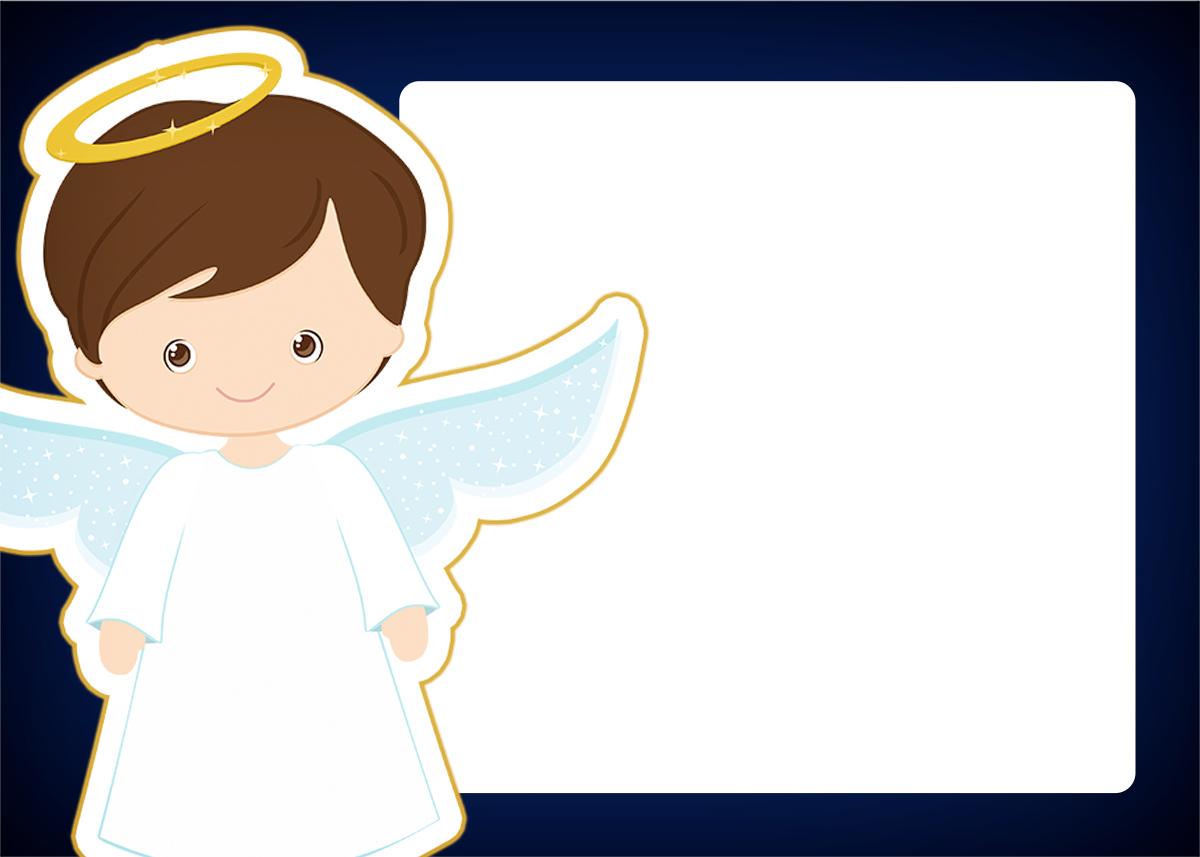 Convite 4 Batizado Menino Azul Marinho E Branco Fazendo