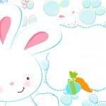 Convite 4 Páscoa Coelhinho Cute Azul