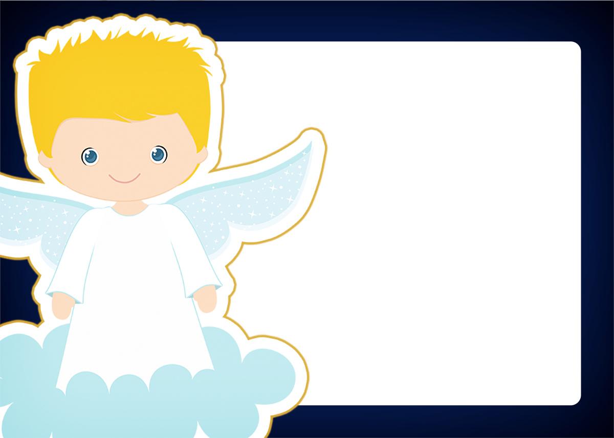 Convite 5 Batizado Azul Marinho Anjinho Loiro Fazendo A Nossa Festa