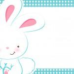 Convite 5 Páscoa Coelhinho Cute Azul