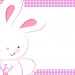 Convite 5 Páscoa Coelhinho Cute Rosa