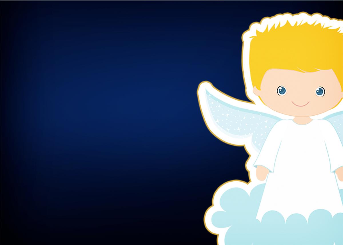 Convite 6 Batizado Azul Marinho Anjinho Loiro Fazendo A Nossa Festa