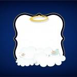 Convite 6 Batizado Menino Azul Marinho e Branco