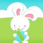 Convite 6 Páscoa Coelhinho Cute Azul