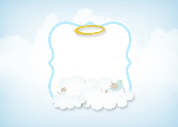 Convite 7 Batizado Azul Claro