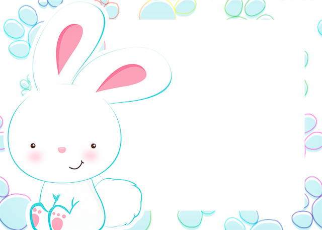 Convite 8 Páscoa Coelhinho Cute Azul