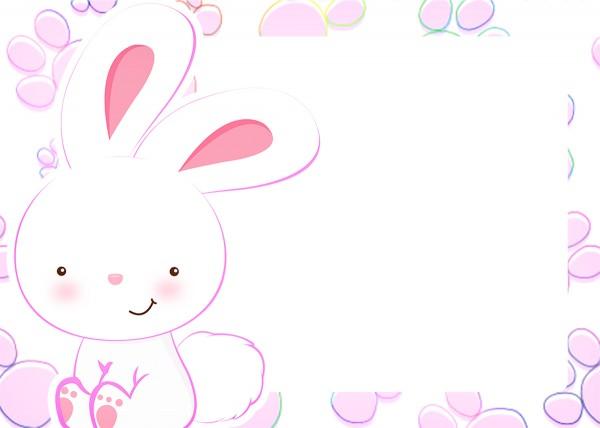 Convite 8 Páscoa Coelhinho Cute Rosa
