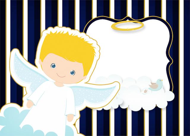 Convite Batizado Azul Marinho Anjinho Loiro