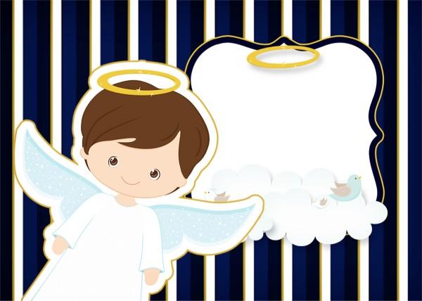 Convite Batizado Menino Azul Marinho e Branco