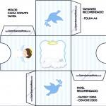 Convite Caixa Tampa Batizado Azul Claro