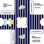 Convite Caixa Tampa Batizado Azul Marinho Anjinho Loiro