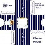 Convite Caixa Tampa Batizado Menino Azul Marinho e Branco