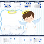 Convite Calendário 2015 Batizado Azul Claro