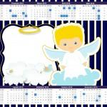 Convite Calendário 2015 Batizado Azul Marinho Anjinho Loiro