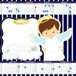 Convite Calendário 2015 Batizado Menino Azul Marinho e Branco
