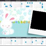 Convite Calendário 2015 Páscoa Coelhinho Cute Azul