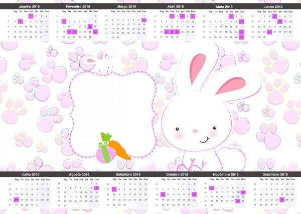 Convite Calendário 2015 Páscoa Coelhinho Cute Rosa