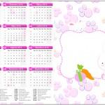 Convite Calendário 2016 Páscoa Coelhinho Cute Rosa
