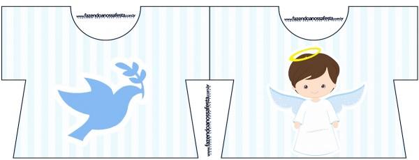 Convite Camisa Batizado Azul Claro