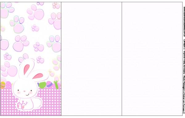 Convite, Cardápio ou Cronograma em Z Páscoa Coelhinho Cute Rosa