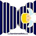 Convite Cupcake Batizado Azul Marinho Anjinho Loiro