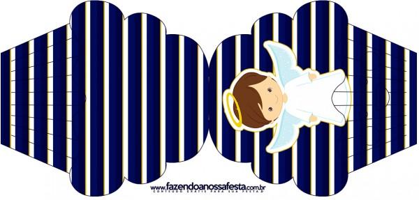 Convite Cupcake Batizado Menino Azul Marinho e Branco