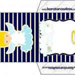 Convite Envelope Batizado Azul Marinho Anjinho Loiro