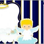 Convite Ingresso Batizado Azul Marinho Anjinho Loiro