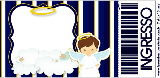 Convite Ingresso Batizado Menino Azul Marinho e Branco
