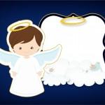Convite, Moldura e Cartão Batizado Menino Azul Marinho e Branco